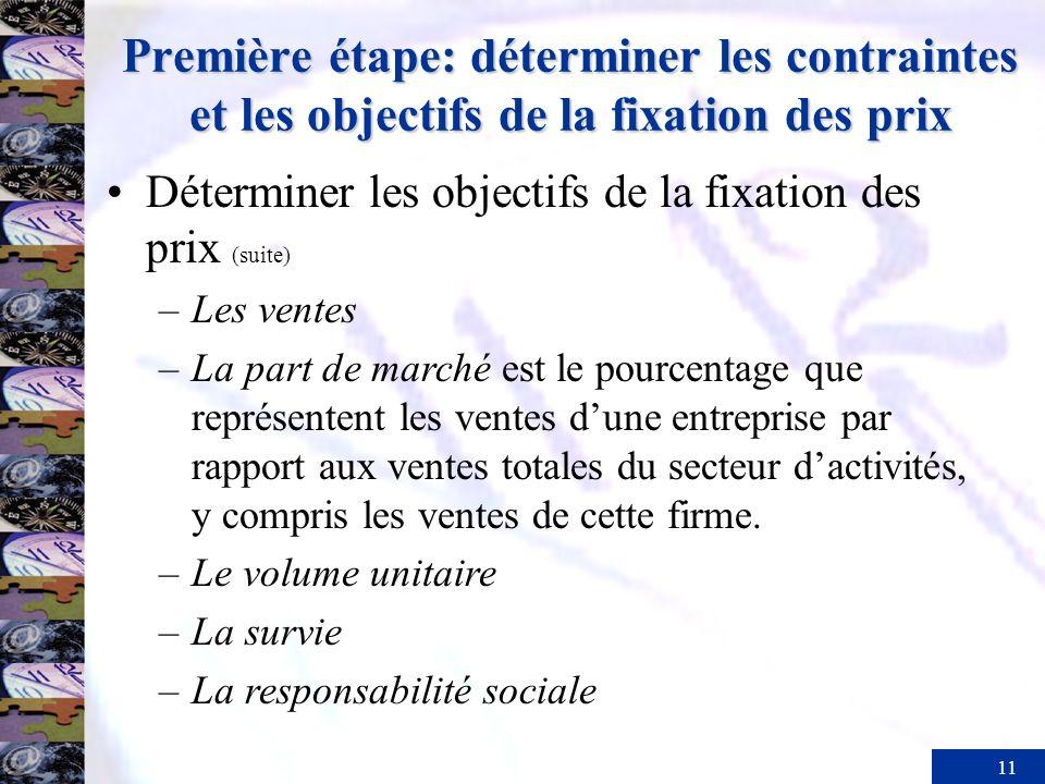 11 Première étape: déterminer les contraintes et les objectifs de la fixation des prix Déterminer les objectifs de la fixation des prix (suite) –Les v