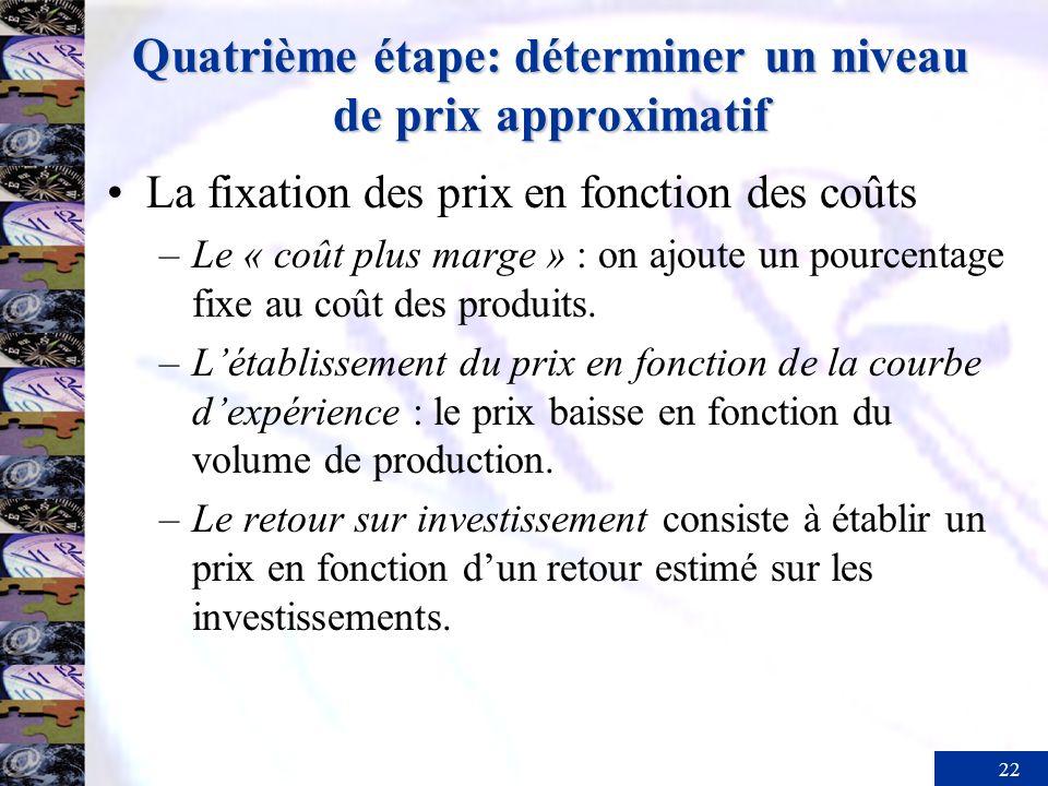 22 Quatrième étape: déterminer un niveau de prix approximatif La fixation des prix en fonction des coûts –Le « coût plus marge » : on ajoute un pource