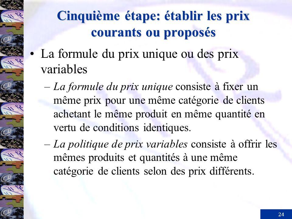 24 Cinquième étape: établir les prix courants ou proposés La formule du prix unique ou des prix variables –La formule du prix unique consiste à fixer