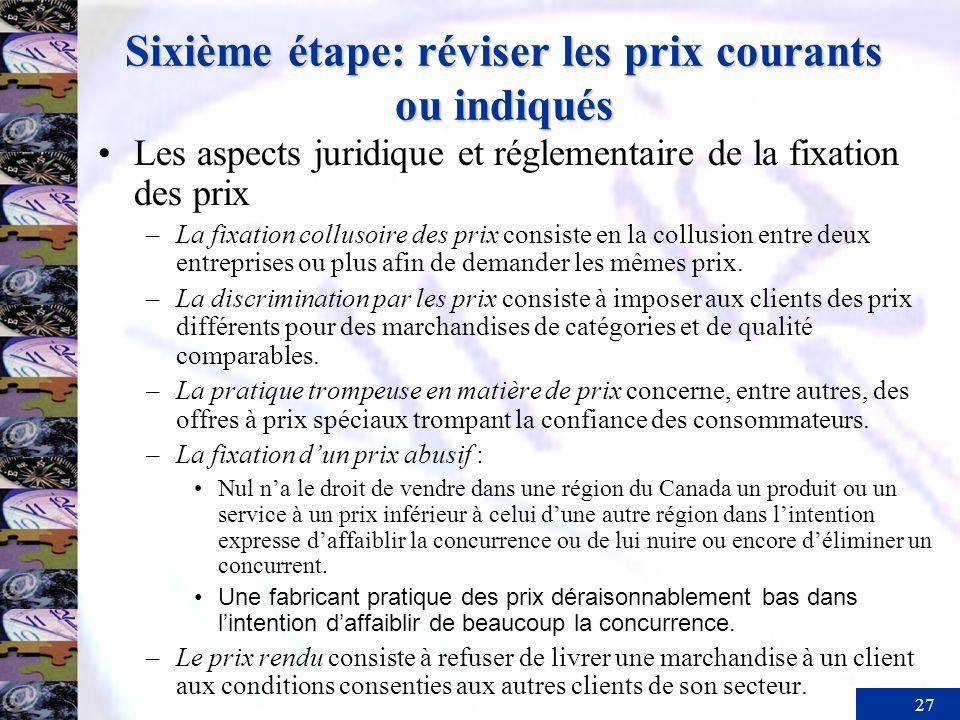 27 Sixième étape: réviser les prix courants ou indiqués Les aspects juridique et réglementaire de la fixation des prix –La fixation collusoire des pri