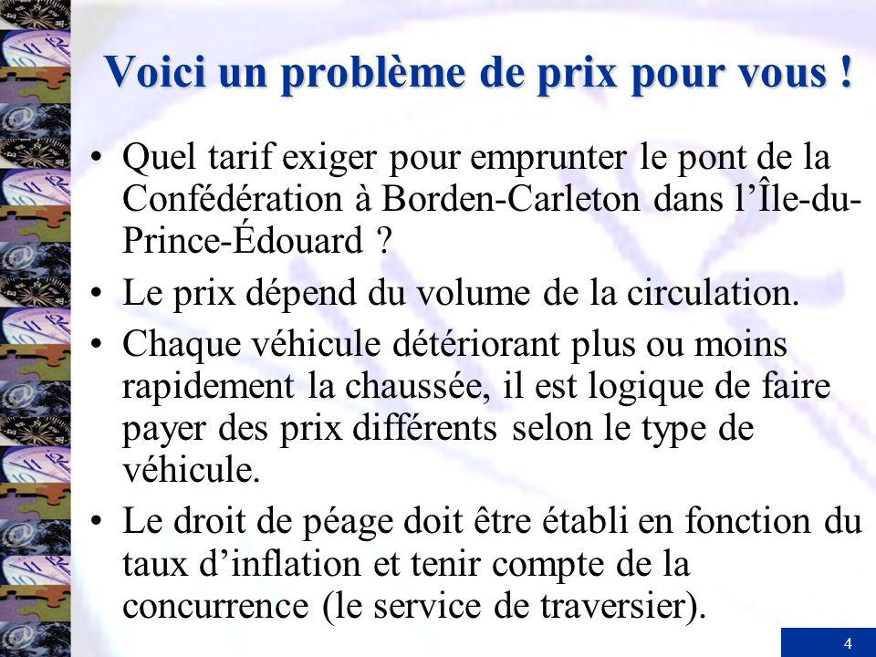 4 Voici un problème de prix pour vous ! Quel tarif exiger pour emprunter le pont de la Confédération à Borden-Carleton dans lÎle-du- Prince-Édouard ?