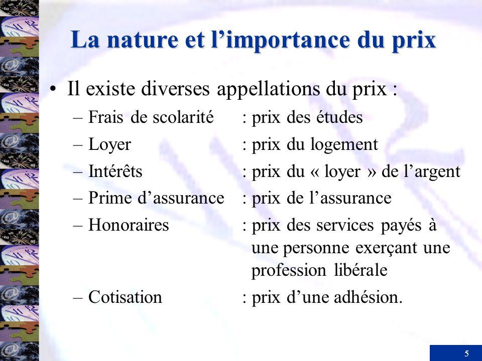 5 La nature et limportance du prix Il existe diverses appellations du prix : –Frais de scolarité: prix des études –Loyer: prix du logement –Intérêts: