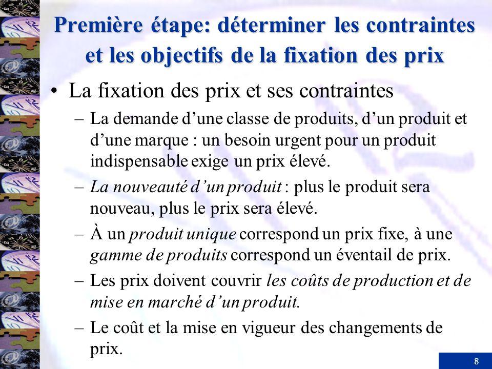 8 Première étape: déterminer les contraintes et les objectifs de la fixation des prix La fixation des prix et ses contraintes –La demande dune classe