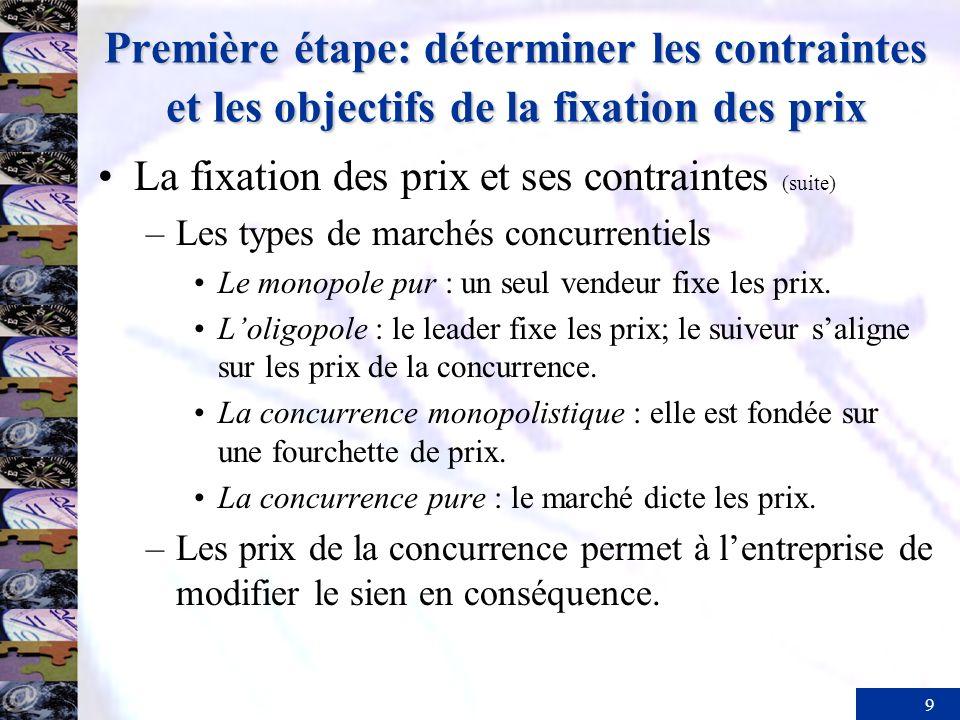 9 Première étape: déterminer les contraintes et les objectifs de la fixation des prix La fixation des prix et ses contraintes (suite) –Les types de ma