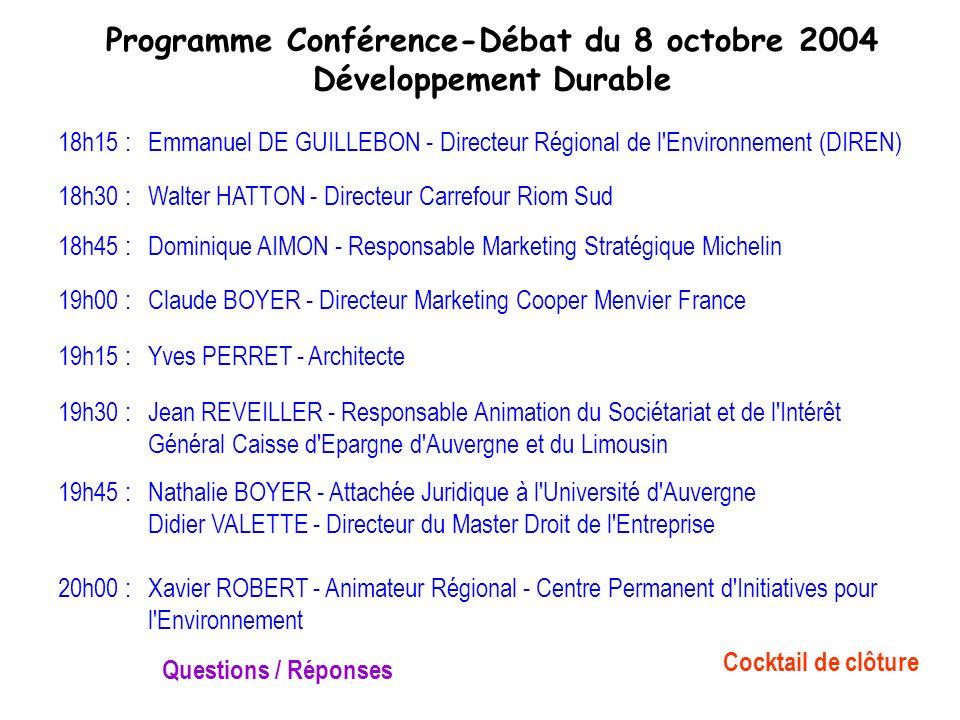 Programme Conférence-Débat du 8 octobre 2004 Développement Durable 18h15 :Emmanuel DE GUILLEBON - Directeur Régional de l'Environnement (DIREN) 18h30