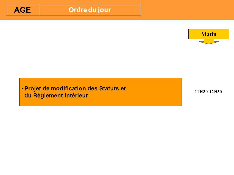 AGE Ordre du jour Matin 11H30-12H30 Projet de modification des Statuts et du Règlement Intérieur