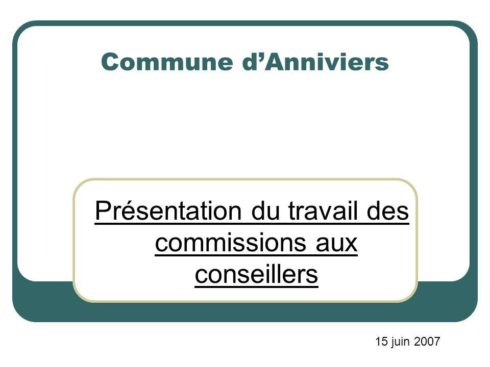 Commune dAnniviers Présentation du travail des commissions aux conseillers 15 juin 2007