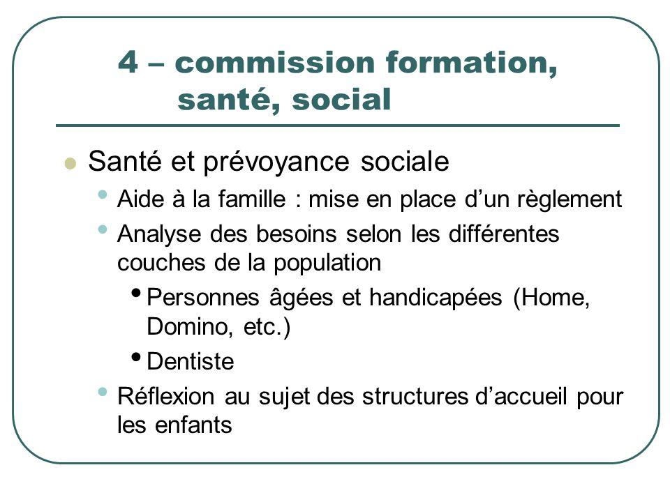 4 – commission formation, santé, social Santé et prévoyance sociale Aide à la famille : mise en place dun règlement Analyse des besoins selon les diff