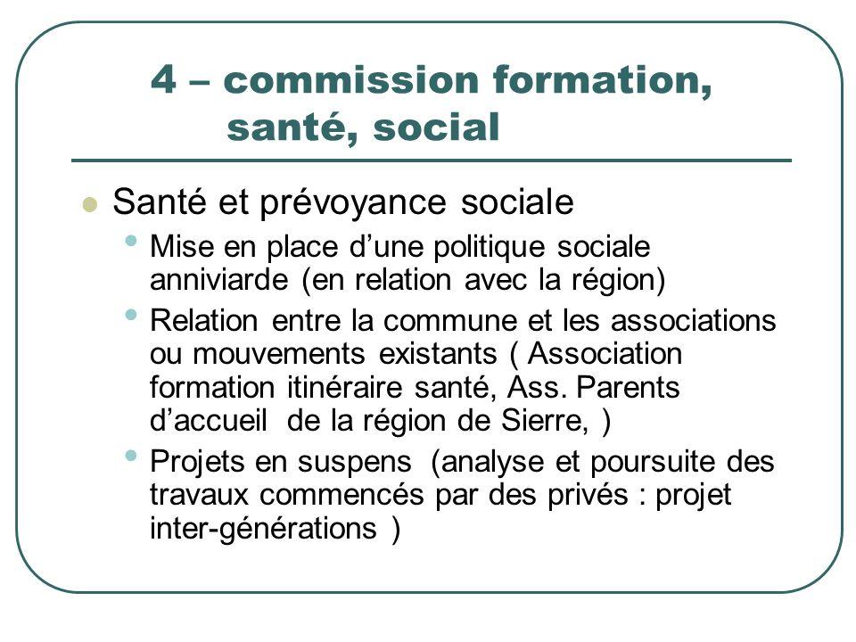 4 – commission formation, santé, social Santé et prévoyance sociale Mise en place dune politique sociale anniviarde (en relation avec la région) Relat