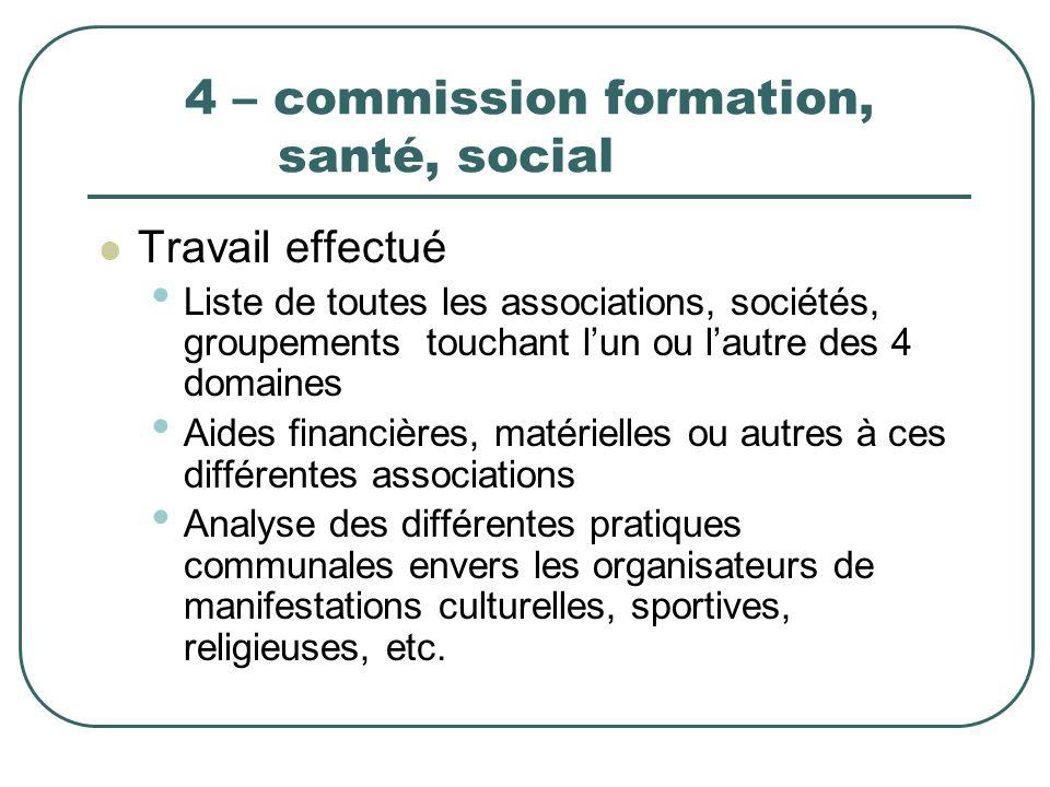 4 – commission formation, santé, social Travail effectué Liste de toutes les associations, sociétés, groupements touchant lun ou lautre des 4 domaines