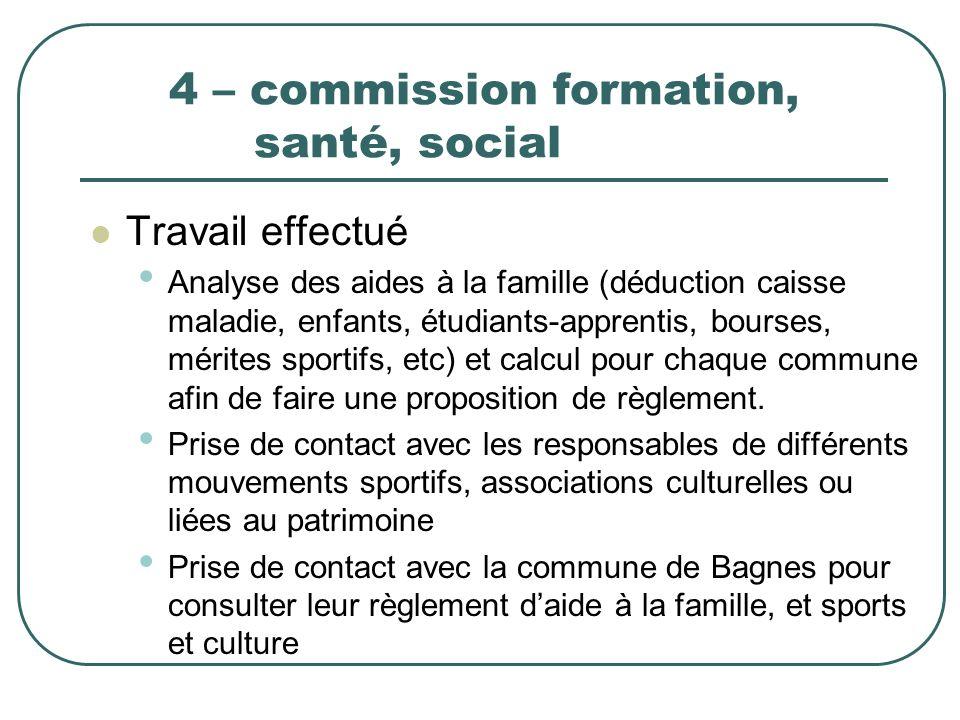 4 – commission formation, santé, social Travail effectué Analyse des aides à la famille (déduction caisse maladie, enfants, étudiants-apprentis, bours