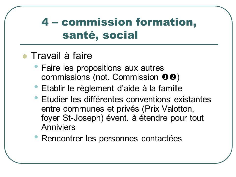 4 – commission formation, santé, social Travail à faire Faire les propositions aux autres commissions (not. Commission ) Etablir le règlement daide à