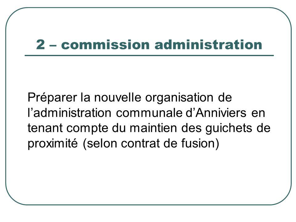 2 – commission administration Préparer la nouvelle organisation de ladministration communale dAnniviers en tenant compte du maintien des guichets de p