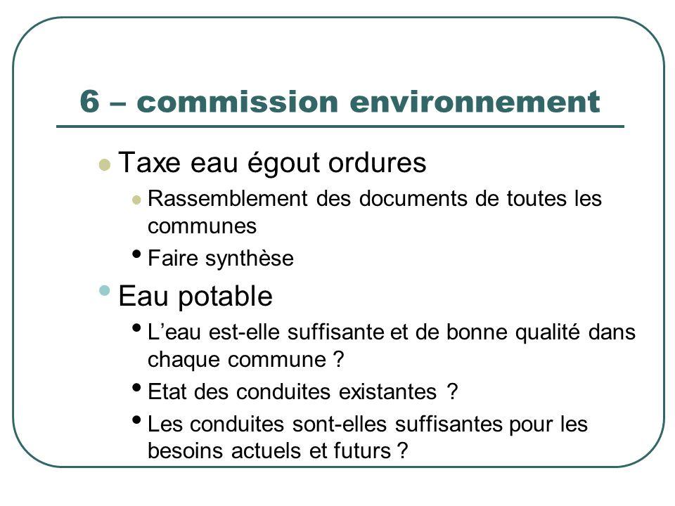 6 – commission environnement Taxe eau égout ordures Rassemblement des documents de toutes les communes Faire synthèse Eau potable Leau est-elle suffis