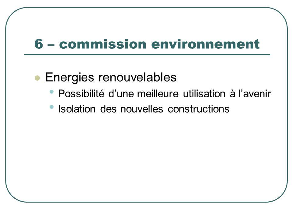 6 – commission environnement Energies renouvelables Possibilité dune meilleure utilisation à lavenir Isolation des nouvelles constructions