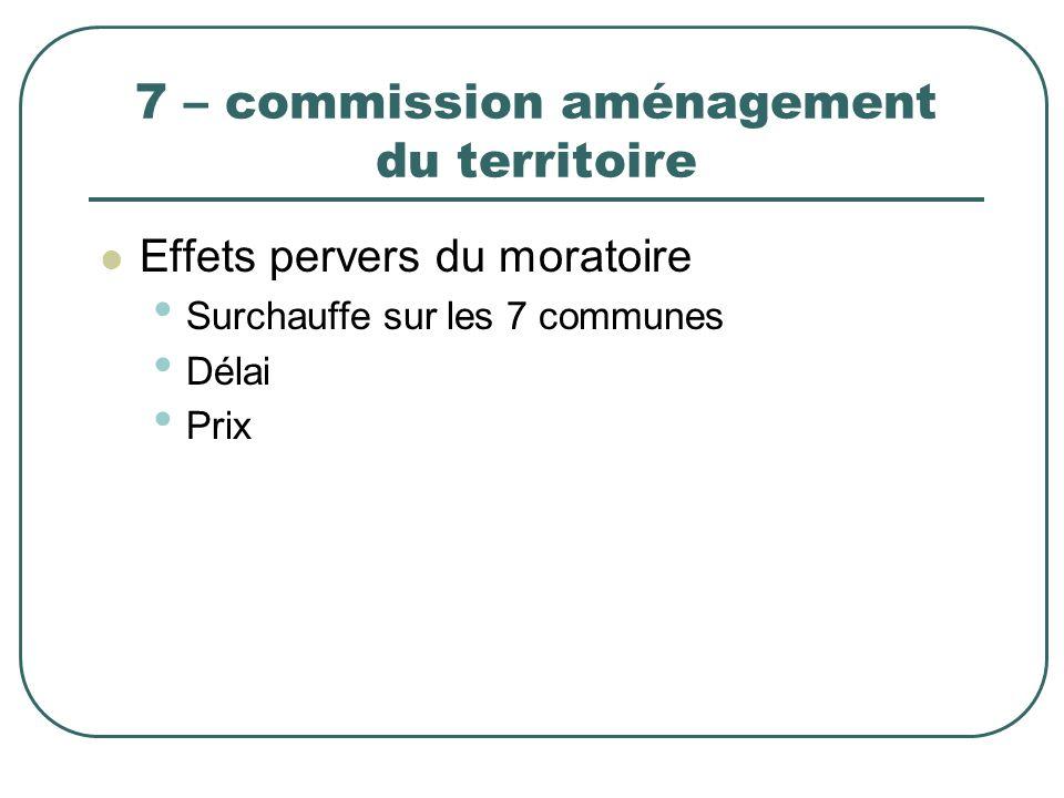7 – commission aménagement du territoire Effets pervers du moratoire Surchauffe sur les 7 communes Délai Prix