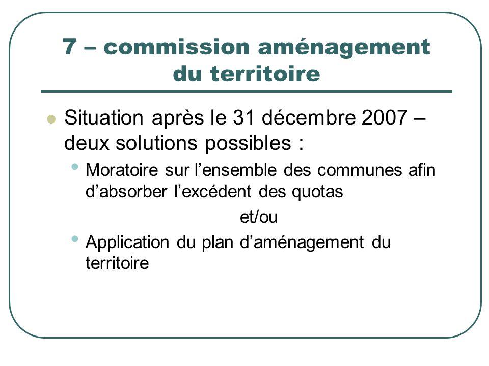 7 – commission aménagement du territoire Situation après le 31 décembre 2007 – deux solutions possibles : Moratoire sur lensemble des communes afin da