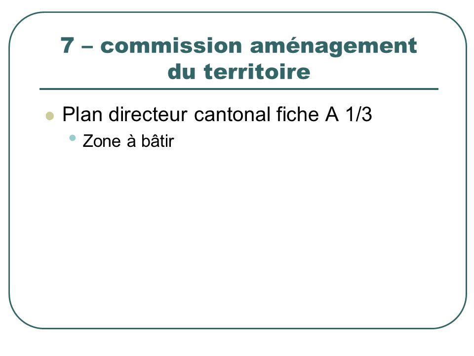 7 – commission aménagement du territoire Plan directeur cantonal fiche A 1/3 Zone à bâtir