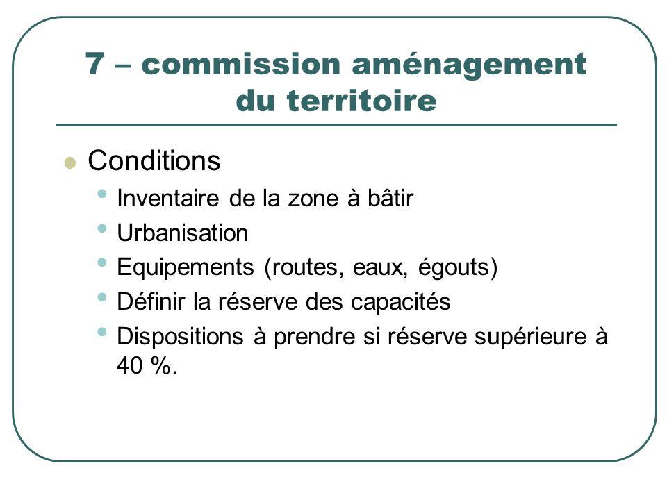 7 – commission aménagement du territoire Conditions Inventaire de la zone à bâtir Urbanisation Equipements (routes, eaux, égouts) Définir la réserve d