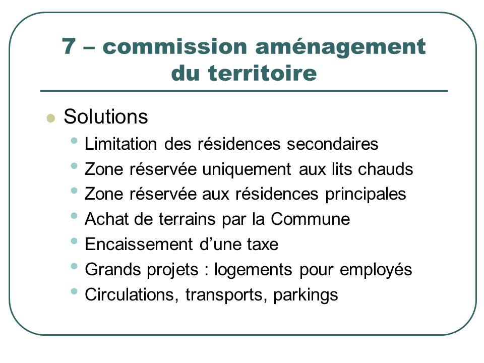 7 – commission aménagement du territoire Solutions Limitation des résidences secondaires Zone réservée uniquement aux lits chauds Zone réservée aux ré