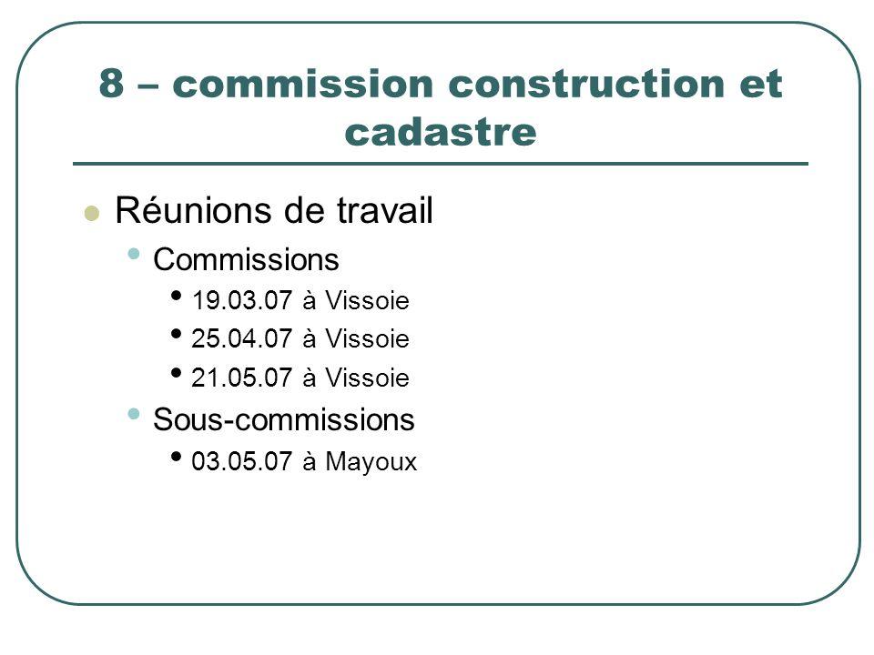8 – commission construction et cadastre Réunions de travail Commissions 19.03.07 à Vissoie 25.04.07 à Vissoie 21.05.07 à Vissoie Sous-commissions 03.0