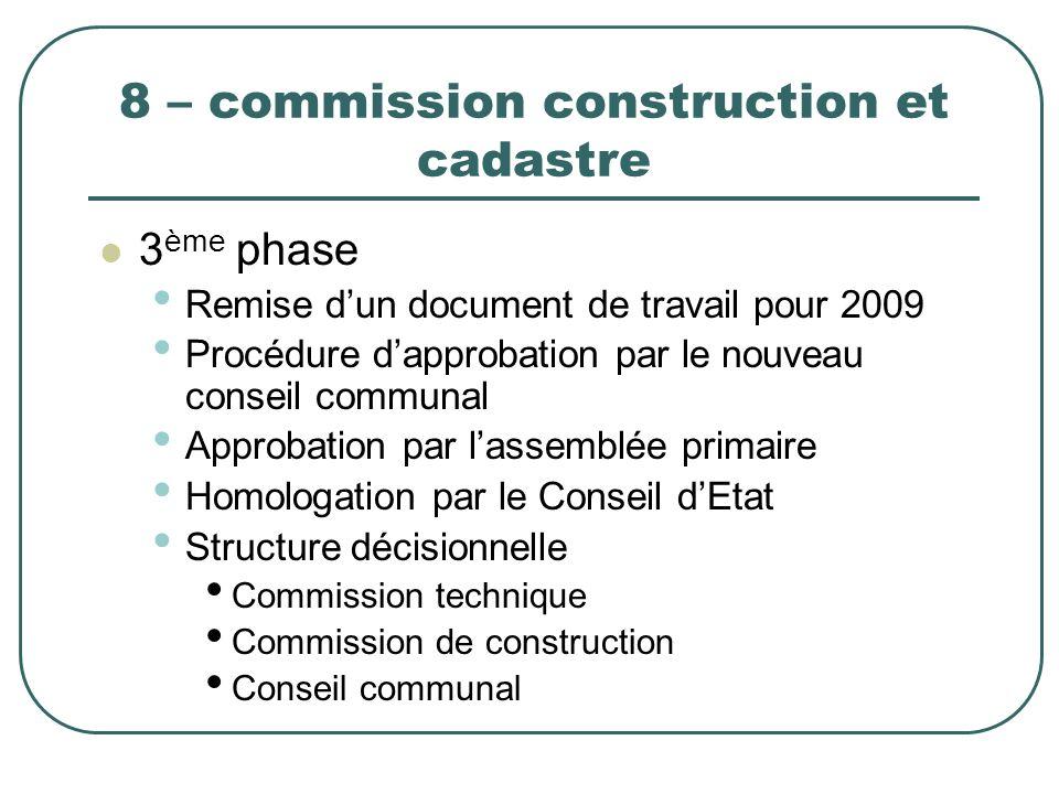 8 – commission construction et cadastre 3 ème phase Remise dun document de travail pour 2009 Procédure dapprobation par le nouveau conseil communal Ap