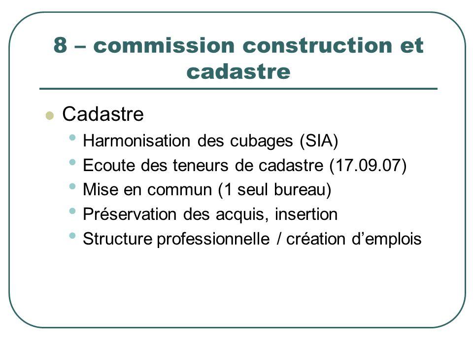 8 – commission construction et cadastre Cadastre Harmonisation des cubages (SIA) Ecoute des teneurs de cadastre (17.09.07) Mise en commun (1 seul bure