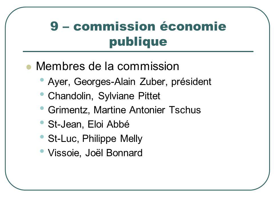 9 – commission économie publique Membres de la commission Ayer, Georges-Alain Zuber, président Chandolin, Sylviane Pittet Grimentz, Martine Antonier T