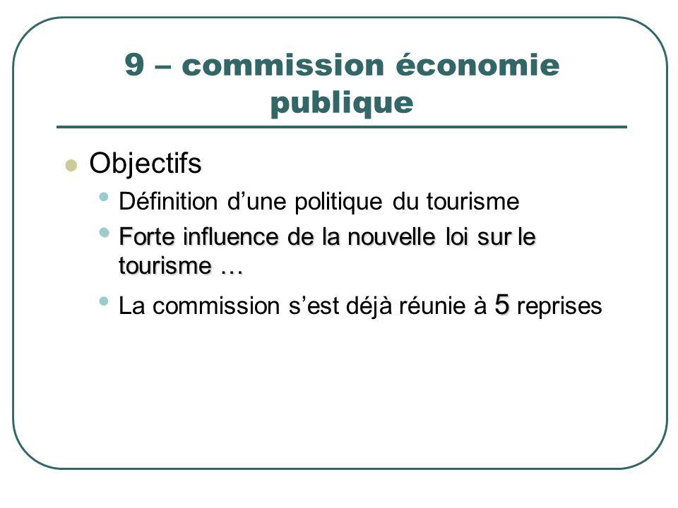 9 – commission économie publique Objectifs Définition dune politique du tourisme Forte influence de la nouvelle loi sur le tourisme … Forte influence