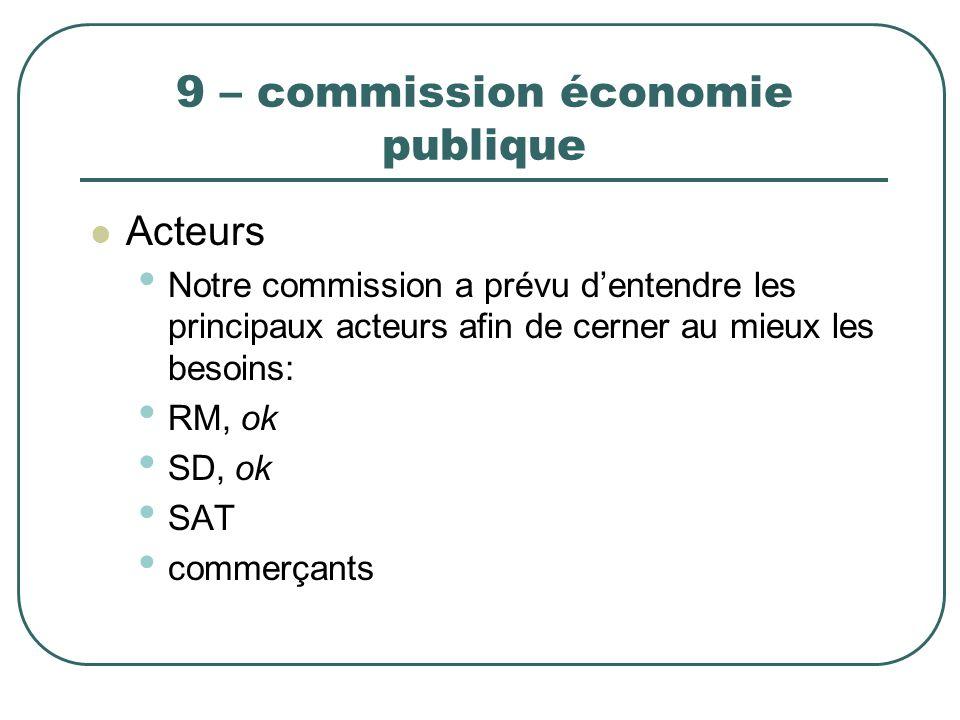 9 – commission économie publique Acteurs Notre commission a prévu dentendre les principaux acteurs afin de cerner au mieux les besoins: RM, ok SD, ok