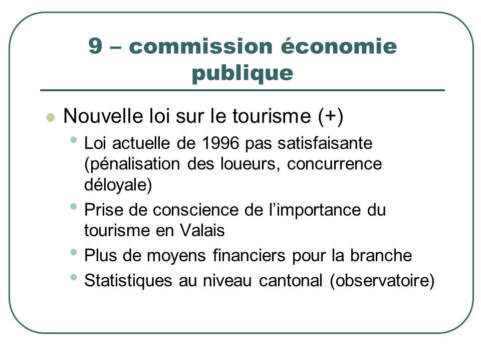 9 – commission économie publique Nouvelle loi sur le tourisme (+) Loi actuelle de 1996 pas satisfaisante (pénalisation des loueurs, concurrence déloya