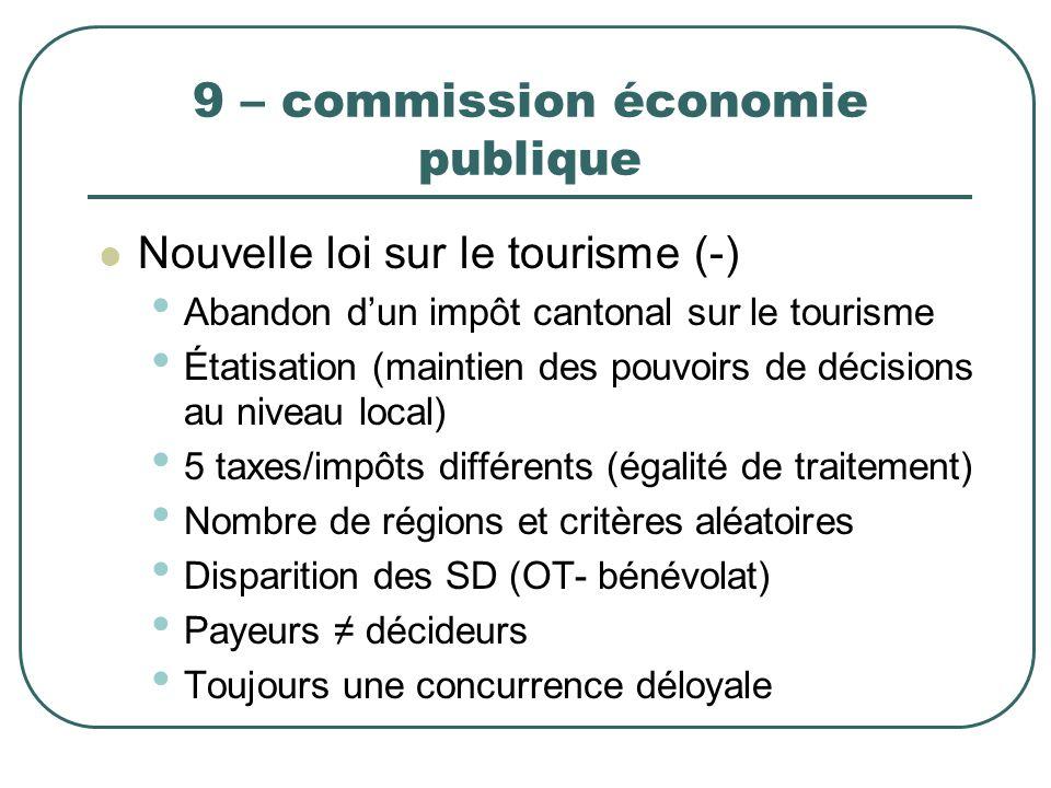 9 – commission économie publique Nouvelle loi sur le tourisme (-) Abandon dun impôt cantonal sur le tourisme Étatisation (maintien des pouvoirs de déc