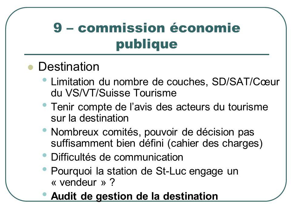 9 – commission économie publique Destination Limitation du nombre de couches, SD/SAT/Cœur du VS/VT/Suisse Tourisme Tenir compte de lavis des acteurs d