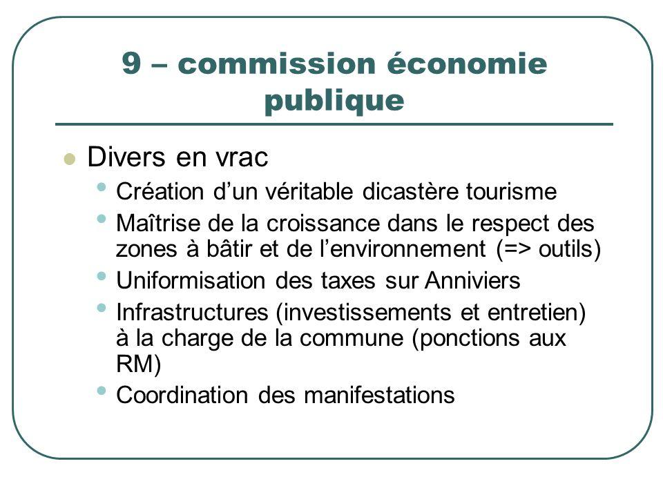9 – commission économie publique Divers en vrac Création dun véritable dicastère tourisme Maîtrise de la croissance dans le respect des zones à bâtir
