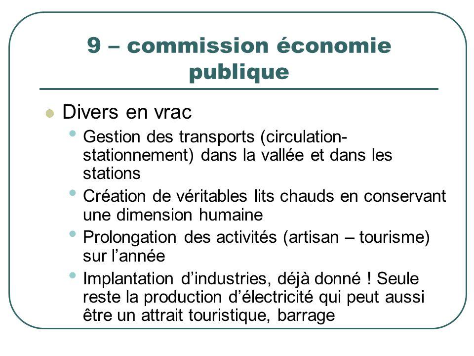 9 – commission économie publique Divers en vrac Gestion des transports (circulation- stationnement) dans la vallée et dans les stations Création de vé