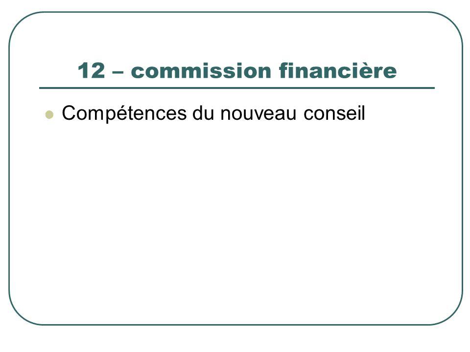 12 – commission financière Compétences du nouveau conseil