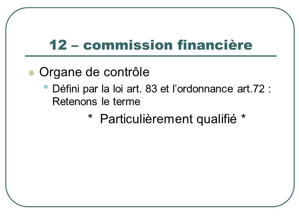 12 – commission financière Organe de contrôle Défini par la loi art. 83 et lordonnance art.72 : Retenons le terme * Particulièrement qualifié *