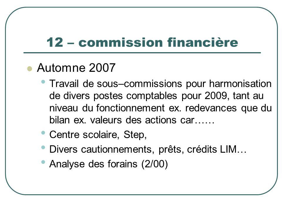 12 – commission financière Automne 2007 Travail de sous–commissions pour harmonisation de divers postes comptables pour 2009, tant au niveau du foncti