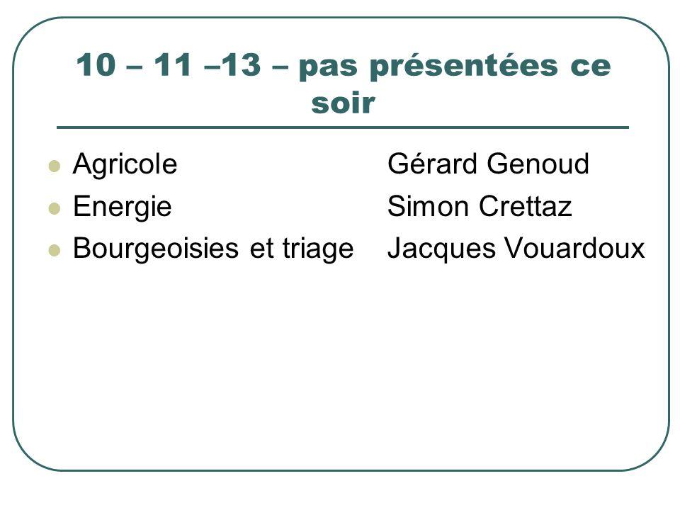 10 – 11 –13 – pas présentées ce soir AgricoleGérard Genoud EnergieSimon Crettaz Bourgeoisies et triageJacques Vouardoux