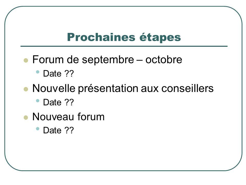 Prochaines étapes Forum de septembre – octobre Date ?? Nouvelle présentation aux conseillers Date ?? Nouveau forum Date ??