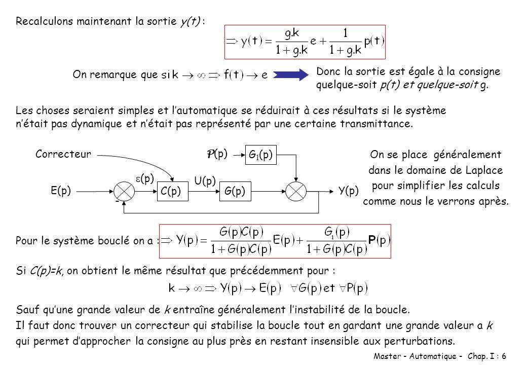 Master - Automatique - Chap. I : 6 Recalculons maintenant la sortie y(t) : On remarque que Donc la sortie est égale à la consigne quelque-soit p(t) et