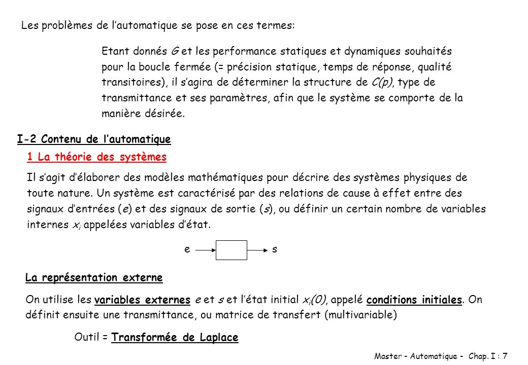 Master - Automatique - Chap. I : 7 Etant donnés G et les performance statiques et dynamiques souhaités pour la boucle fermée (= précision statique, te