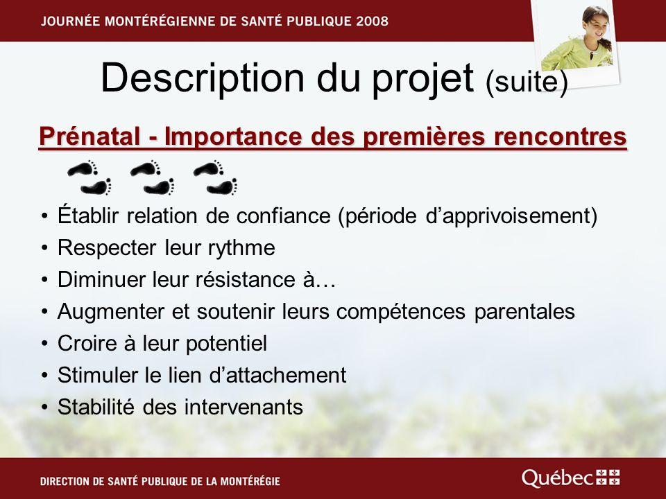 Description du projet (suite) Prénatal - Importance des premières rencontres Établir relation de confiance (période dapprivoisement) Respecter leur ry