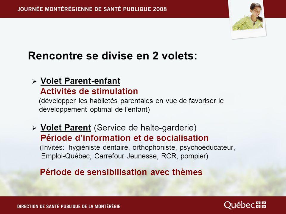 Rencontre se divise en 2 volets: Volet Parent-enfant Activités de stimulation (développer les habiletés parentales en vue de favoriser le développemen