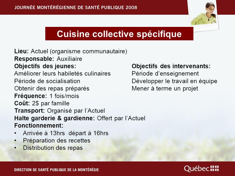 Lieu: Actuel (organisme communautaire) Responsable: Auxiliaire Objectifs des jeunes: Objectifs des intervenants: Améliorer leurs habiletés culinaires