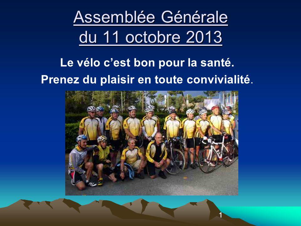 1 Assemblée Générale du 11 octobre 2013 Le vélo cest bon pour la santé.