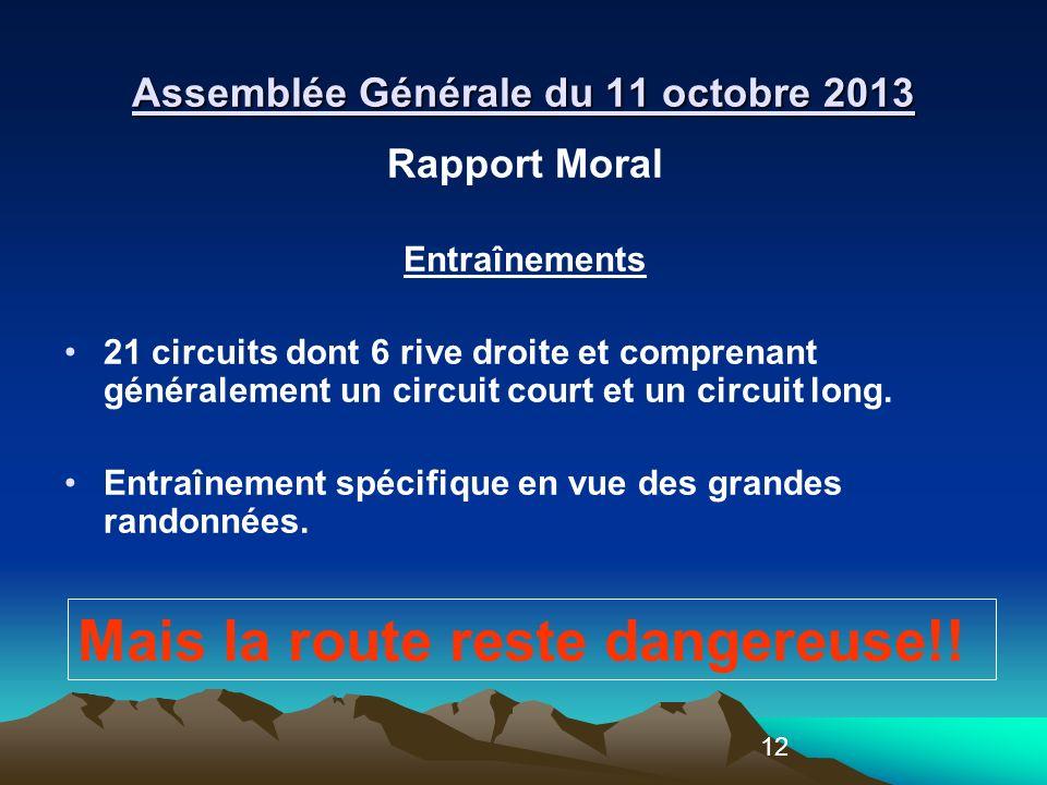 12 Rapport Moral Entraînements 21 circuits dont 6 rive droite et comprenant généralement un circuit court et un circuit long.