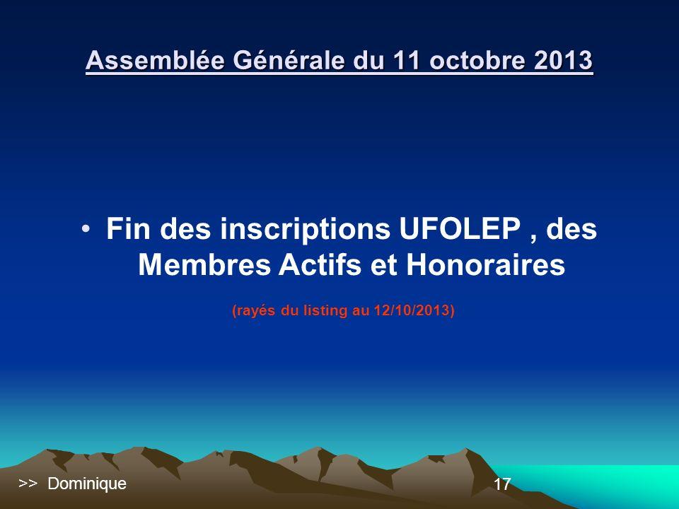 17 Fin des inscriptions UFOLEP, des Membres Actifs et Honoraires (rayés du listing au 12/10/2013) Assemblée Générale du 11 octobre 2013 >> Dominique