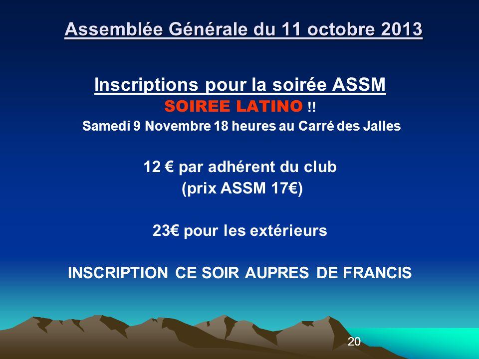20 Inscriptions pour la soirée ASSM SOIREE LATINO !.