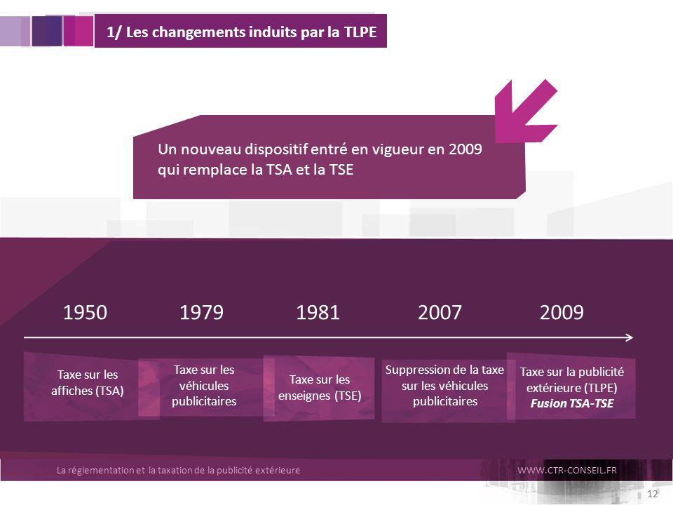 La réglementation et la taxation de la publicité extérieureWWW.CTR-CONSEIL.FR 12 1/ Les changements induits par la TLPE Un nouveau dispositif entré en